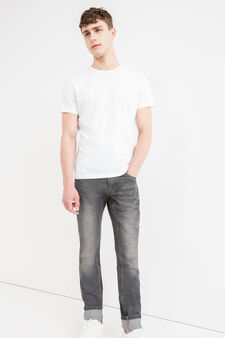 Slim fit, worn-effect jeans with abrasions, Dark Wash, hi-res