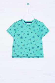 T-shirt puro cotone con stampa, Verde, hi-res