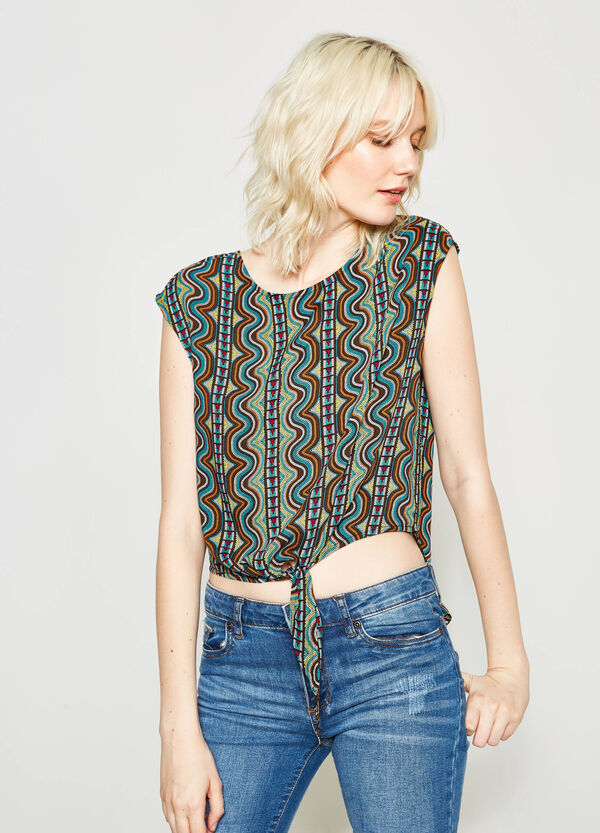 Crop blouse with ethnic pattern   OVS