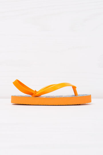 Printed thong sandals with elastic insert, Blue, hi-res