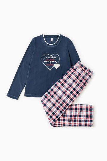 Fleece pyjamas with tartan pattern, Navy Blue, hi-res
