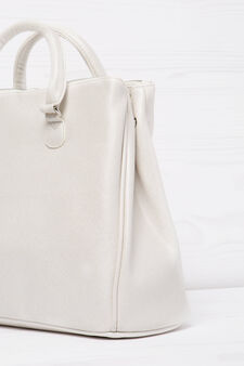Solid colour handbag with shoulder strap, White, hi-res