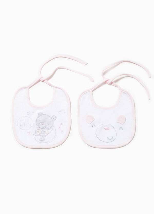Two-pack bibs with patches and embroidery | OVS