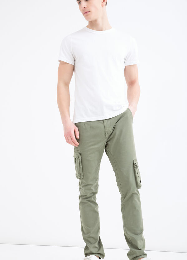 Solid colour stretch cargo trousers | OVS