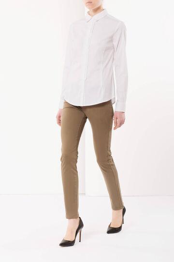 Pantaloni stretch tinta unita, Marrone fango, hi-res