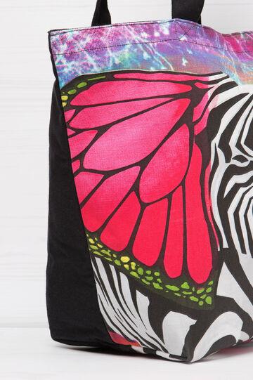 Cotton shopping bag with print, Multicolour, hi-res