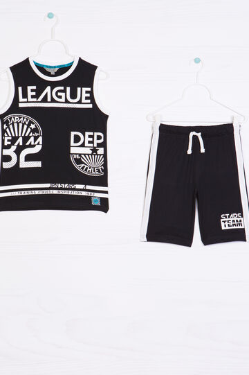 Outfit in 100% cotton with contrasting trim, Black, hi-res