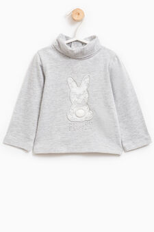 T-shirt with rabbit patch and lace, Grey Marl, hi-res