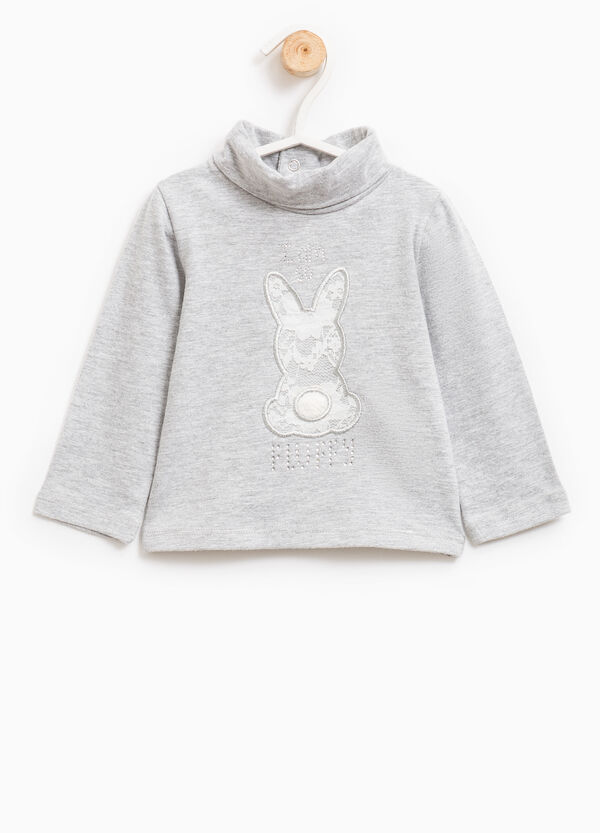 T-shirt with rabbit patch and lace | OVS