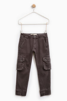 Pantaloni chino cargo cotone stretch, Grigio scuro, hi-res