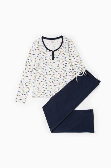 Patterned pyjamas in 100% cotton, Cream White, hi-res