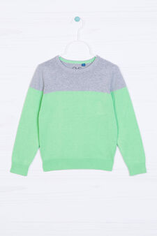 Ribbed pullover in 100% cotton, Grey/Green, hi-res