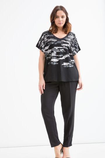 Curvy 100% cotton T-shirt with sequins, Black, hi-res