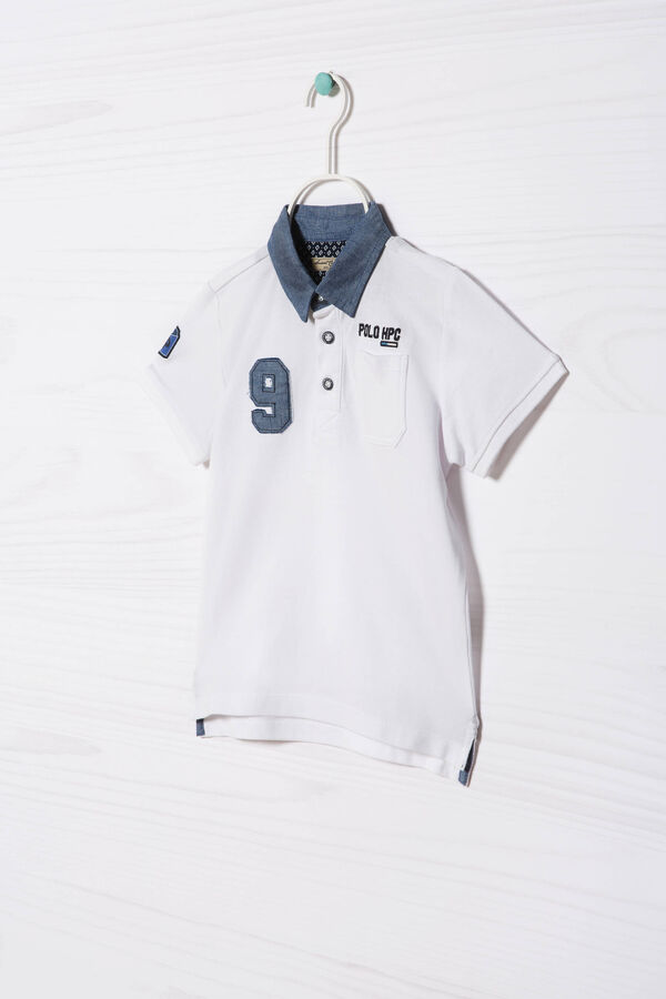 100% cotton polo shirt with patches   OVS