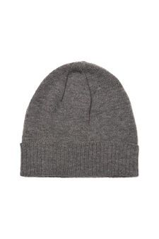 Ribbed beanie cap, Grey Marl, hi-res