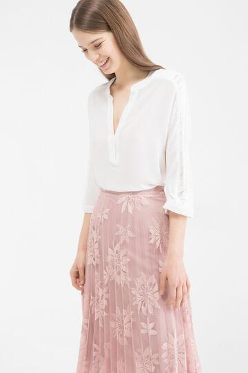 V-neck blouse, Cream White, hi-res