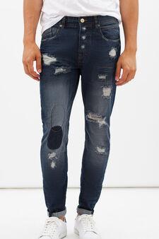 Slim fit ripped jeans, Dark Wash, hi-res