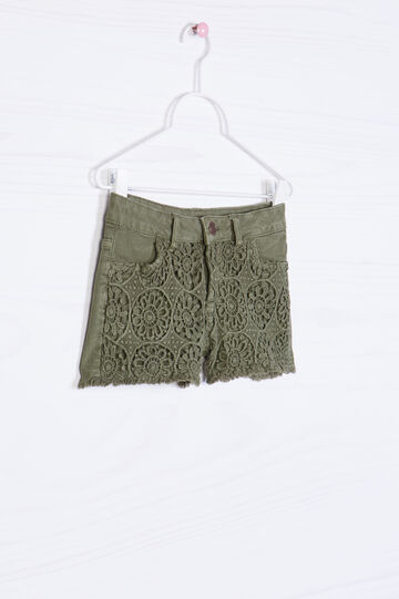 Shorts puro cotone inserto traforato, Verde oliva, hi-res