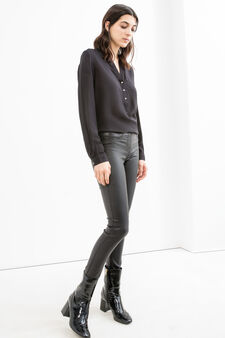 Leather look, stretch jeggings, Black, hi-res