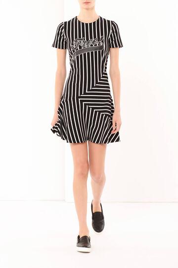 Striped dress, White/Black, hi-res