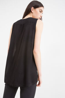 V-neck semi-sheer blouse, Black, hi-res