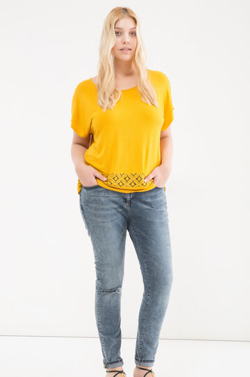 Curvy T-shirt in stretch viscose blend, Yellow, hi-res
