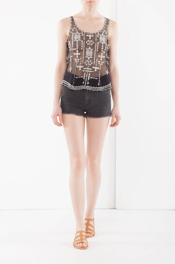 Top with contrast color embroideries, Black, hi-res