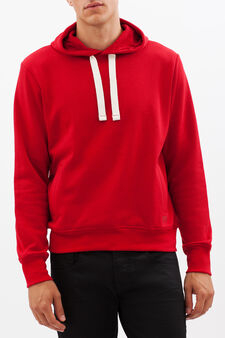 Sweatshirt with contrasting drawstring, Red, hi-res