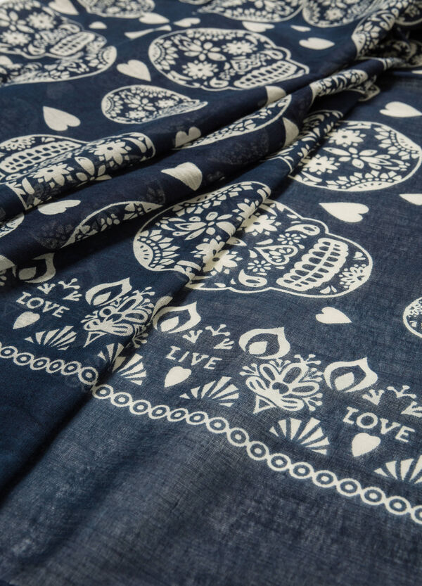 Heart and skulls patterned scarf | OVS