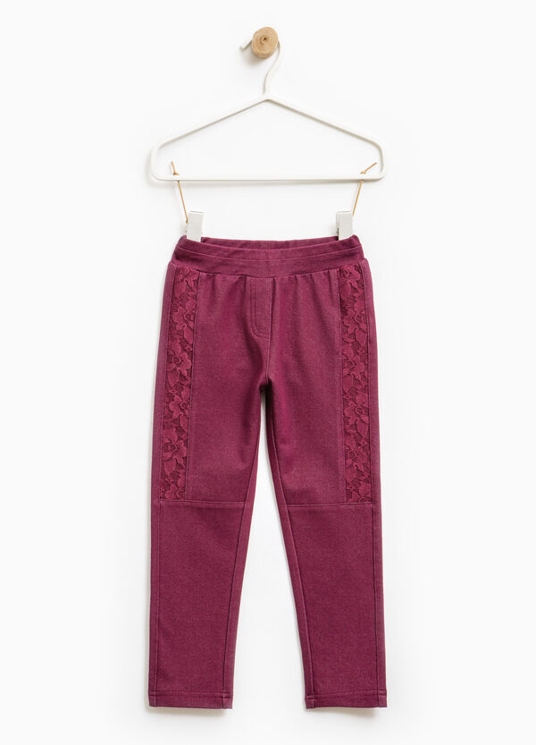 Jeggings cotone stretch con pizzo | OVS