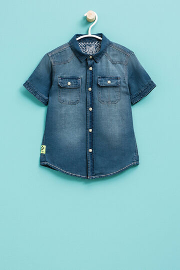 Short-sleeved denim shirt, Denim, hi-res