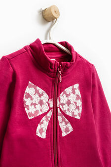 Tracksuit in 100% cotton with print, Cherry Red, hi-res
