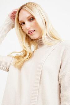 Stretch knit turtleneck with ribbing, Chalk White, hi-res