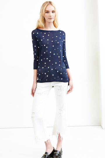 Patterned pullover with star-shaped buttons, Navy Blue, hi-res