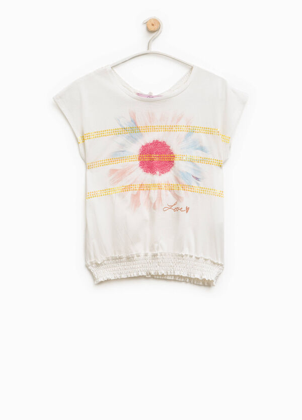 T-shirt with glitter print and lace | OVS