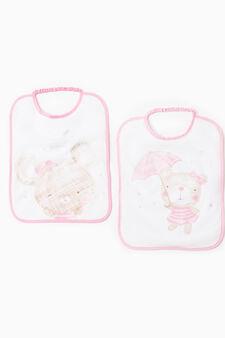 Two-pack printed bibs, White/Pink, hi-res