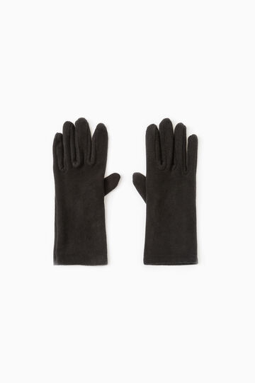 Long solid colour fleece gloves, Black, hi-res