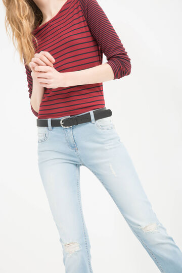 Stretch jeans with rips, Light Blue, hi-res