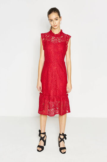 Lace longuette dress with flounces