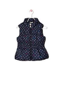 Polka dot quilted waistcoat, Navy Blue, hi-res