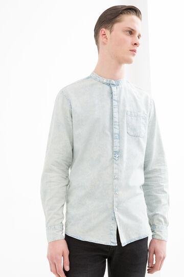 Denim shirt with Mandarin collar, Denim, hi-res