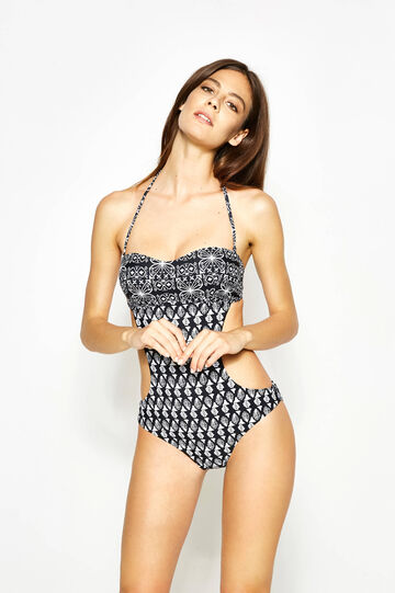 Patterned trikini, Black/White, hi-res