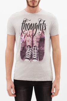 T-shirt puro cotone con stampa, Grigio, hi-res