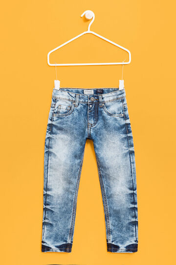 Mis-dyed-effect jeans with button, Soft Blue, hi-res