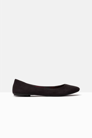 Suede-effect ballerina pumps with round toe, Black, hi-res