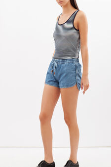 Shorts in jeans con coulisse, Lavaggio medio, hi-res