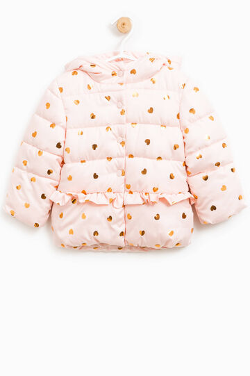 Down jacket with hearts pattern and flounces, Pink, hi-res