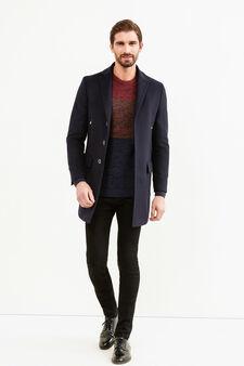 Regular-fit wool blend coat with lapels, Blue, hi-res