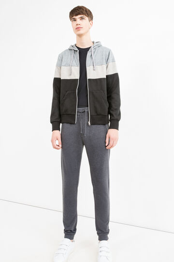 Joggers with ribbed ankle, Slate Grey, hi-res