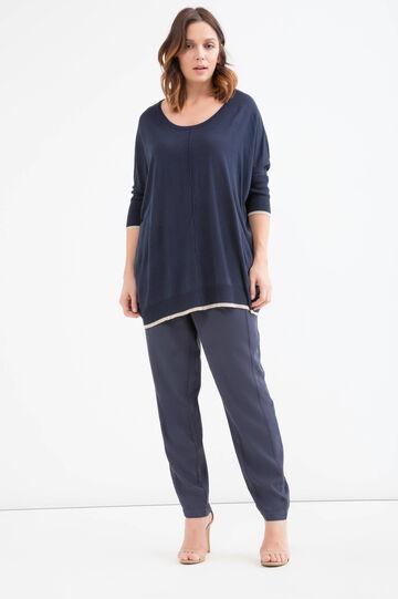 Curvy pullover in viscose blend, Navy Blue, hi-res